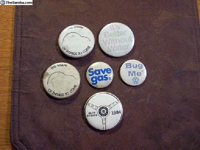 Six old, VW related Buttons, faded, vintage