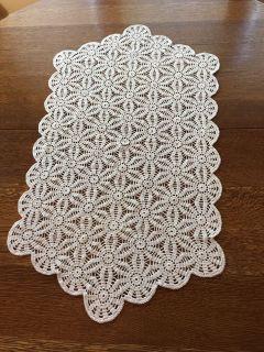 31 x 17 Vintage Crocheted Ivory Runner