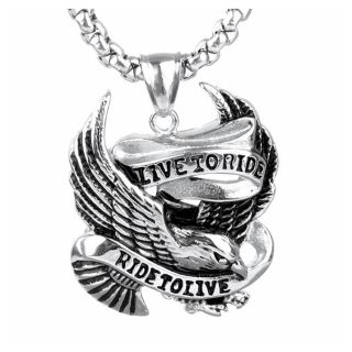 Mens Necklace Live to Ride Ride to Live NEW