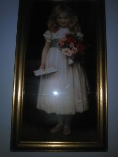 Embroidered picture of girl holding letter and flowers and 2 home interor prints