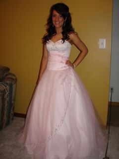 Beautiful Prom Dress Pink with Rhinestones cost $600+ size S MUST SEE