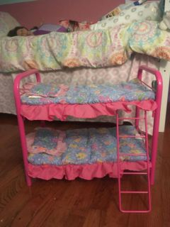 Metal frame bunk bed for dolls