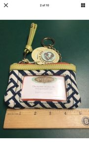 NEW Spartina 449 Linen Leather Blue White Coin ID Wallet Keychain Mermaid Emblem NWT