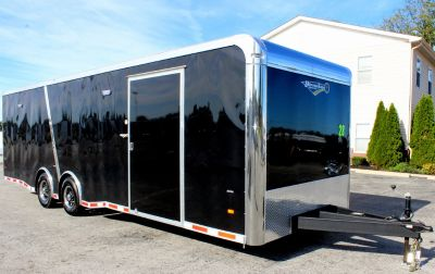 2019 28' Black Enclosed Race Trailer w/Orange Cabinets
