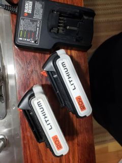 Set of 2 -Black and Decker 20v Lithium Batteries with Charger