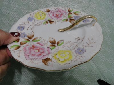 PRETTY PLATE WITH GOLD HANDLE BY ROSETTI 1 OF 2 PICS