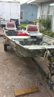 14 Ft Aluminum Boat,motor,trailer