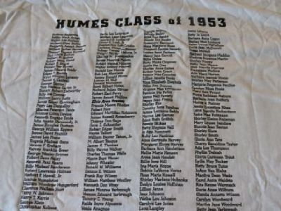$15 Humes 53 revisited Elvis t-shirt size XL46-48 Names in class on back of shir