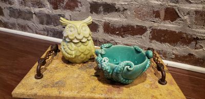 Anthropologie Containers. Both Were Candles but Have Been Burned and Ready to Repurpose. Octopus from Marine Collection and Liddded Owl.