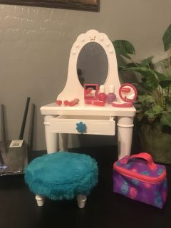 Doll Vanity with Stool & accessories for 18 inch American Girl Size Dolls Excellent Like New Condition $10.00