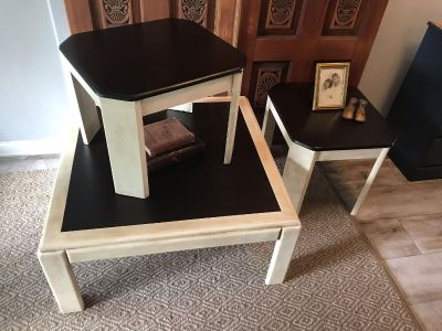 Redesigned 3 Piece Ivory and Java Stained Table Set