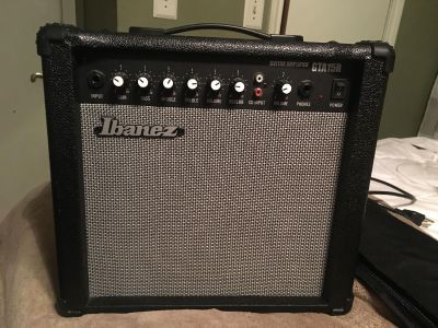 IBANEZ GUITAR AND AMP COMBO WITH CASE STAND AND CORD LIKE NEW