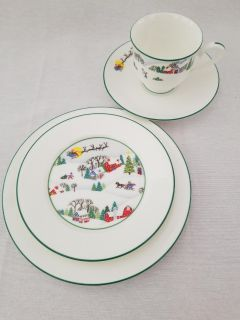 Xmas Sleighride Lenox Cup, Saucer and 2 dishes
