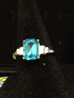 Silver ring with aqua stone size 8