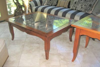 Wood, Glass & Wrought Iron Coffee Table