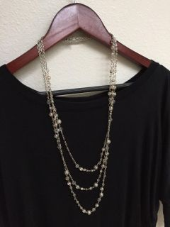 3 tiered silver necklace