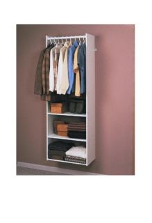 Easy track Closet system tower closet organizer shelf/ rod kit. White