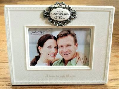 OUR ANNIVERSARY Gift Picture Frame Grasslands Road 4x6 Ceramic - New