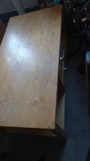 large wood coffee table with drawers