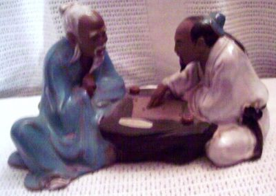 #21 Antique Statue Of Two Old Oriental Men Clay
