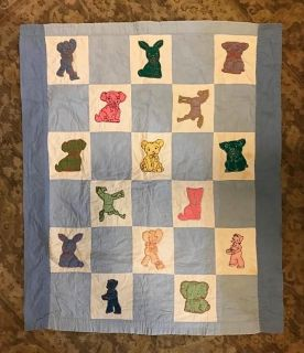 Embroidered Quilt Block Vintage Baby Quilt
