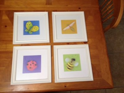 """4 framed and matted """"Bug Brights"""" Art - Ladybug, Butterfly, Dragonfly, Bee"""