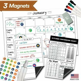 """Magnetic Dry Erase Refrigerator Calendar 17"""" 11"""" Meal Cooking Conversion Chart & To Do, Grocery List"""