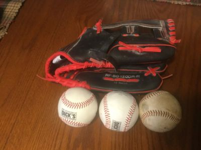 RBX adult 12 inch baseball or softball glove excellent condition. Comes with either 3 hard baseb...
