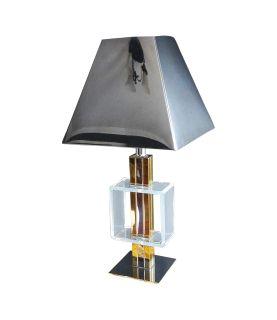 Charles Hollis Jones Brass Chrome & Lucite Lamp
