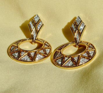 Trifari Baguette Gold/ Rhinestone Hoops Earrings