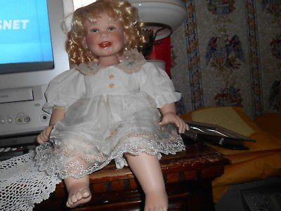 "17"" Blonde Hair Blue Eyed Porcelain Doll w/ cute Smile. Teeth and Tongue showing. So adorable!..."