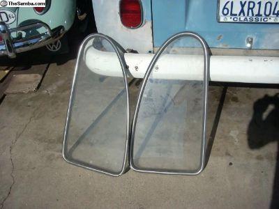 vw bug rear quarter glass with orig vw Trim.