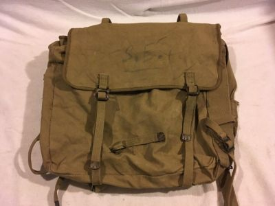 vintage us military khaki beige tan 16 x 15 heavy canvas carry straps backpack 02252