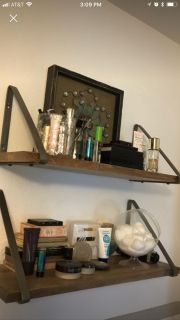 Wooden Shelves with Metal Brackets (2)
