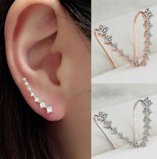 Modern Gold And Silver Plated 7 Diamond Crystals Ear Hook Studs Set