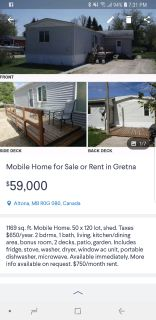 Mobile home for sale or rent