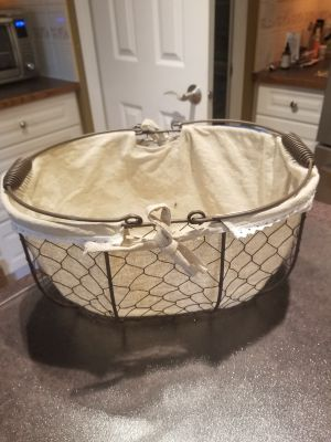 Country chicken wire and cloth basket