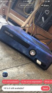 Xbox 360,with two controllers. It's in good condition.