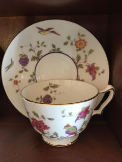 Staffordshire birds and berries teacup and saucer