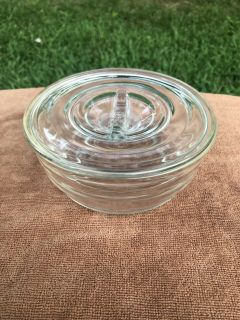 Vintage Glass Round Refrigerator Dish Bowl With Lid, Ring pattern