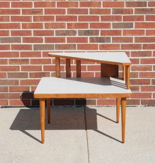 Two-Tier Mid Century Side End or Corner Table