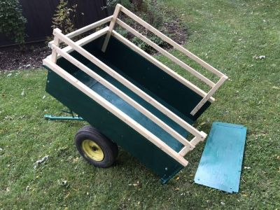 Garden Pull-behind trailer with Tilt Dump, Removable SideRails and Tailgate