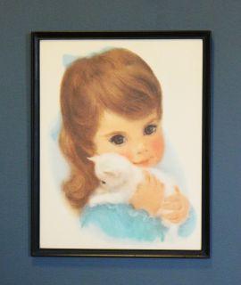 Vintage Kitsch Girl and Kitten Print Retro Decor