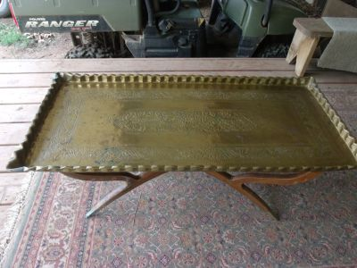 Brass Coffee Table with Wood Stand