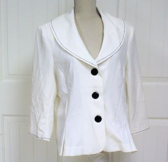 T. Milano 16 Blazer Jacket Suit White Black Fitted Women's Knit Top Blouse Shirt