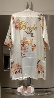 New satin bridal robe and matching slippers
