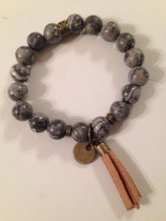 JUST IN! BOUTIQUE BOHO 10mm GENIUNE STONE BEADS IN MOTTLED GRAY TONES, ANTIQUED BRONZE ACCENT STRETCH BRACELET, COIN & TASSEL PENDANTS