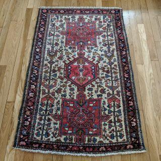 Tribal Persian Rug 2' 8 x 4' 1 Ivory Karaja