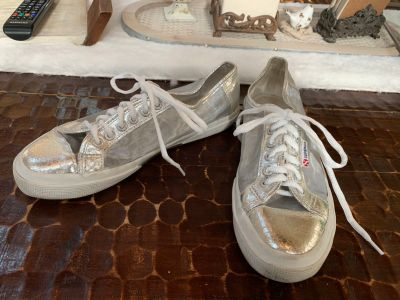 Anthropologie Superga silver and mesh sneakers . Size 41 10/10.5
