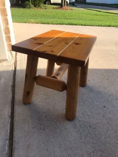 Wood rustic end table